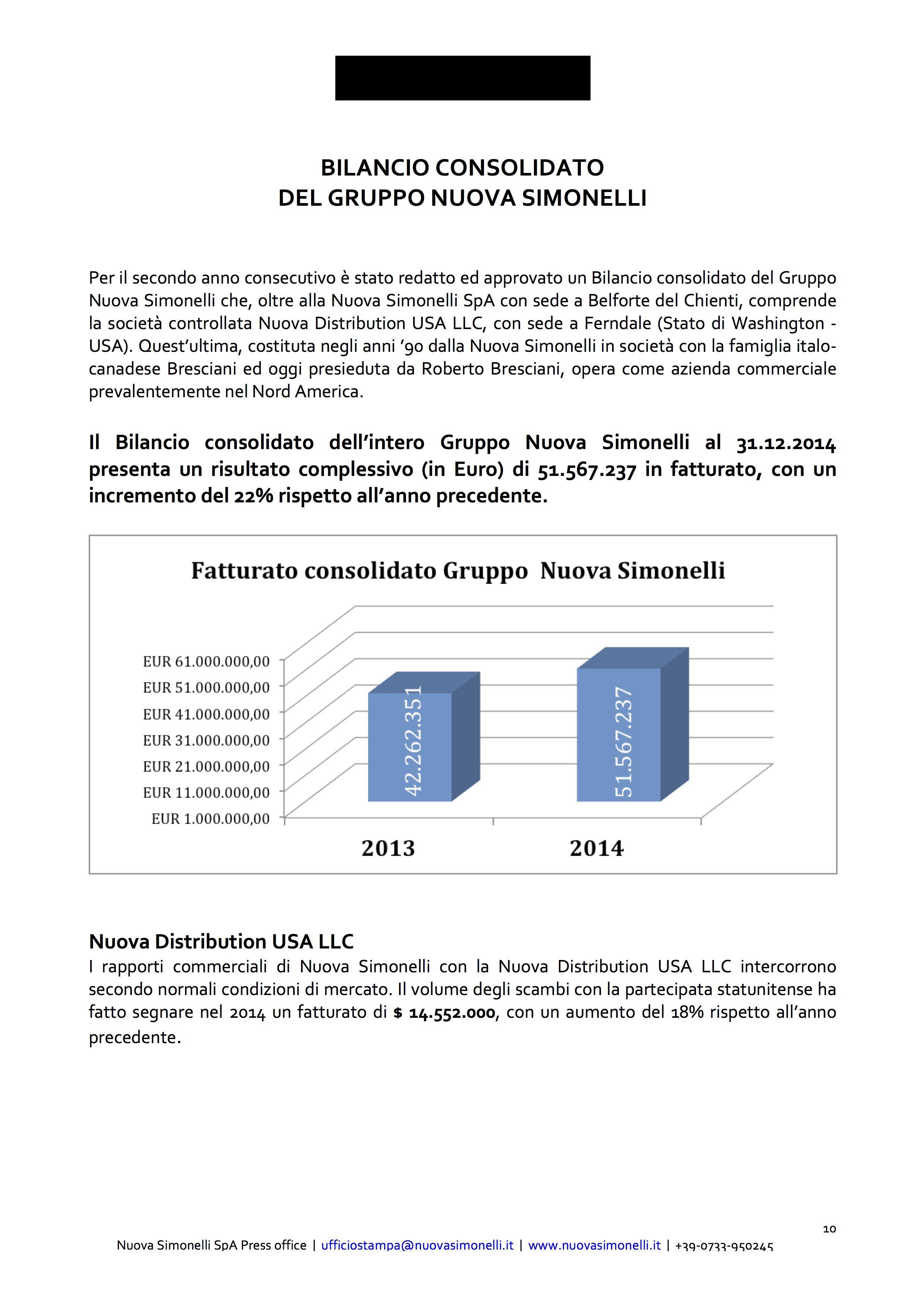 nuova simonelli bilancio 2014