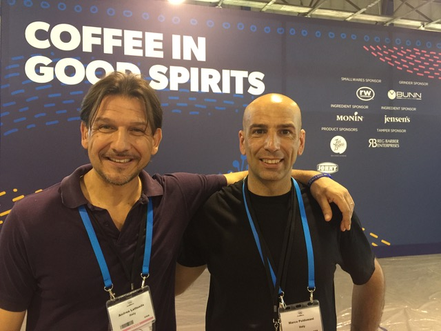 Marco Poidomani, campione italiano coffee in good spirits, con il coach Andrea Lattuada