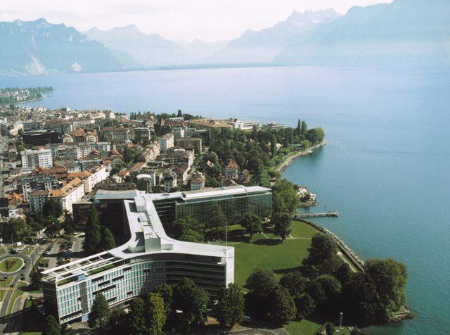 Svizzera Nestlé fatturato Nespresso Vista dall'alto del quartier generale di Nestlé a Vevey (Svizzera)