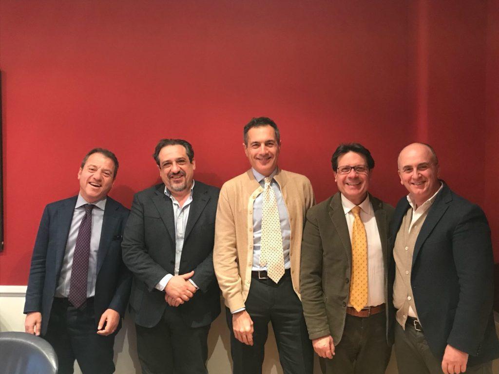 Il consiglio di amministrazione del Polo del caffè: da sinistra Lucio Punzo Mario Rubino, Marco Reginelli, Rosario Carafa e Vittorio Spizzuoco