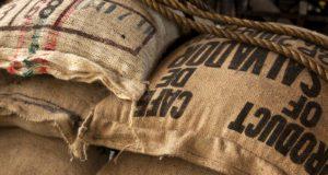 import Sacchi di caffè verde in un magazzino