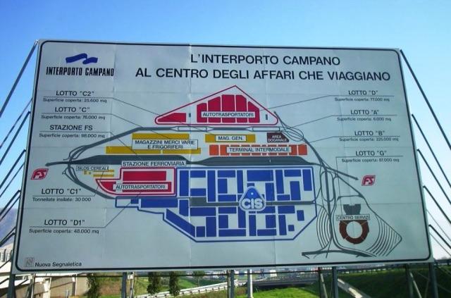La mappa dell'Interporto campano con lo slogan Al centro degli affari che viaggiano