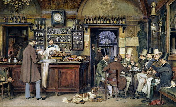 storia Artisti e intellettuali riuniti a Caffè Greco di Roma