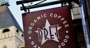 Un insegna della catena di caffetterie Pret A Manger
