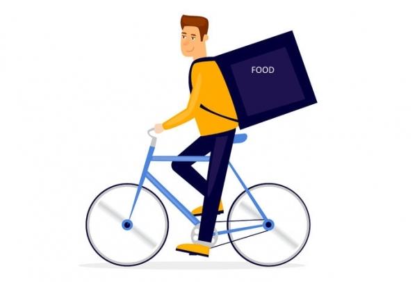 I rider consegnano alimenti cotti in bicicletta nelle grandi città