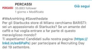L'annuncio di lavoro per le caffetterie tradizionali di Starbucks che saranno gestite dal Gruppo Percassi di Bergamo