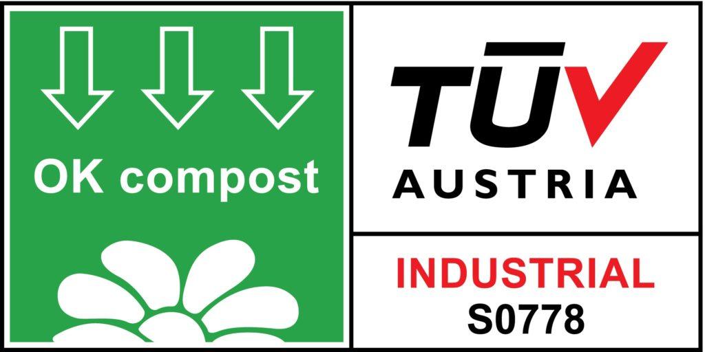 Il logo che certifica la compostabilità del Compofilt