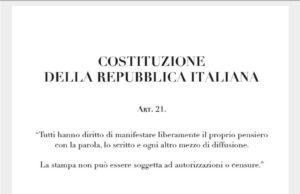 Il testo dell'articolo 21 della Costituzione della Repubblica italiana