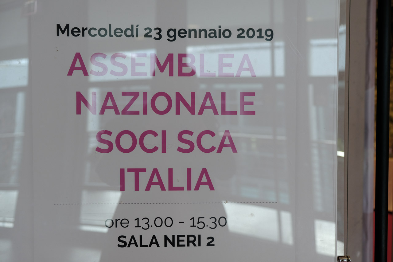 Il manifesto della convocazione dell'assemnblea dei soci Sca Italy tenutasi a Rimini nell'ultima giornata del Sigep