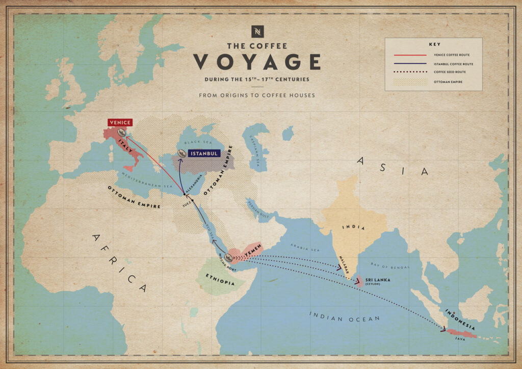 Le rotte dal caffè dall'Etiopia alla Penisola Arabica a Venezia e Istanbul