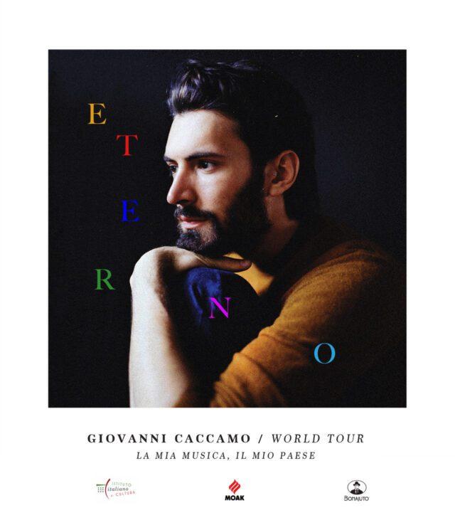Un dettaglio della locandina del tour mondiale di Giovanni Caccamo