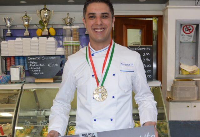 Eugenio Morrone nella sua gelateria di Roma