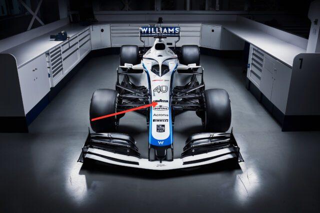 La vista frontale della Willims di F1 per il 2020 con il marchio Lavazza sul musetto e sul cupolone